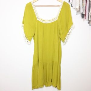 NEW Kori America mustard drop waist dress tassels